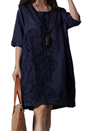Women Tunic Dress Plus Size Vintage Round Neck Embroidered Cotton Linen  Dresses