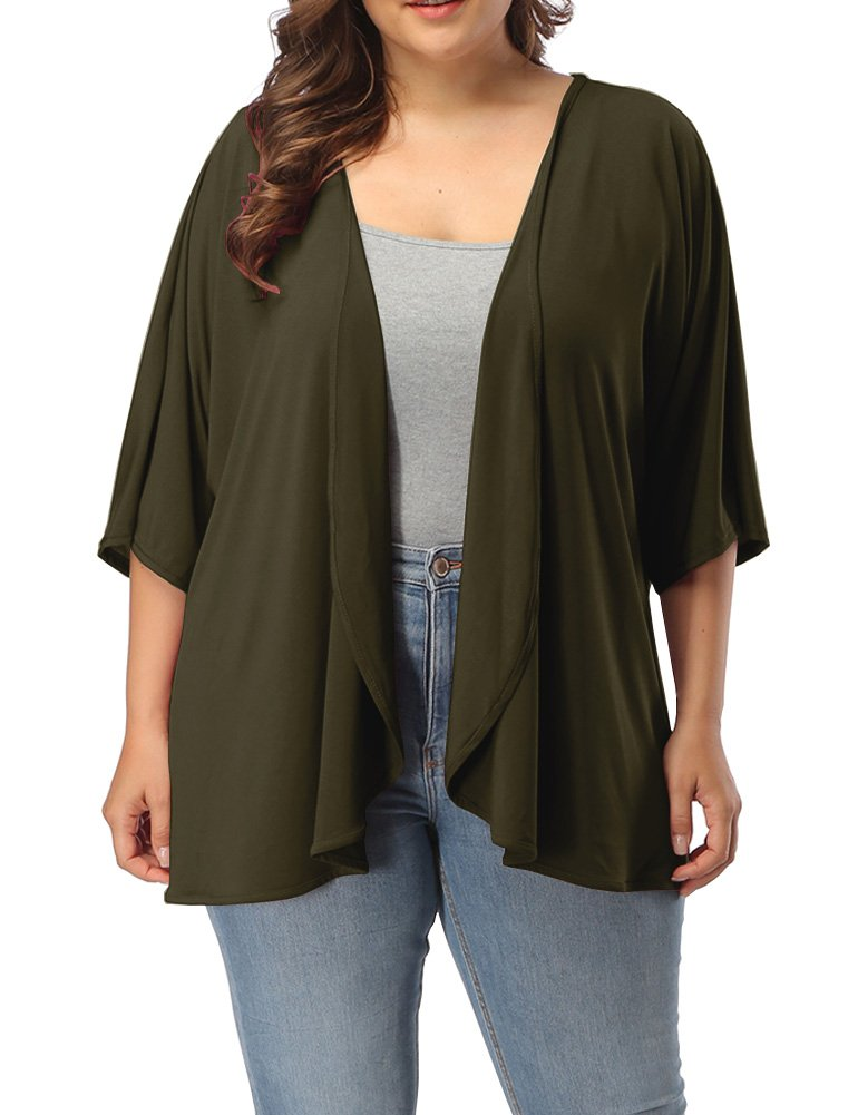 Allegrace Women's Plus Size Summer Casual Open Front Half Sleeve Lightweight Cardigan Army Green 3X