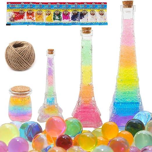 Superle - Juego de bolas de gel para cultivar arcoíris con perlas de agua, kit de manualidades de la serie Arco iris para hacer tus propias botellas de la serie Rainbow con