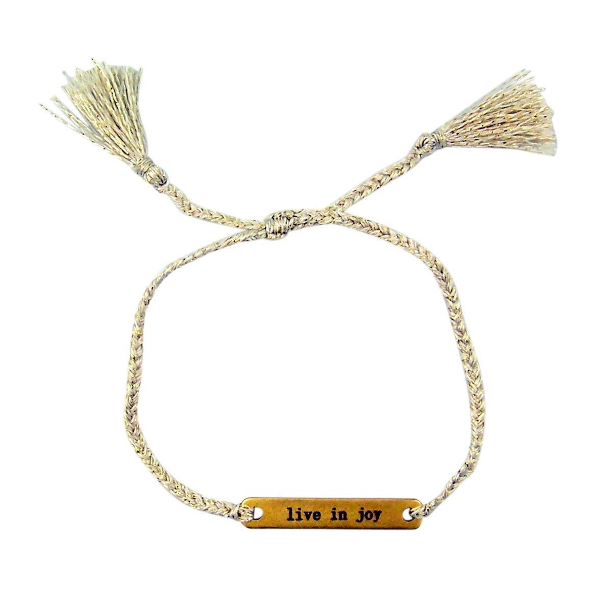 Joy in a Jar Thread Bracelet with Live in Joy Brass Plate, 6 Inch