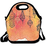 Islamic Lanterns Garland Arabesque Middle Eastern Oriental Artwork Lunch Bag Tote For School Work Outdoor
