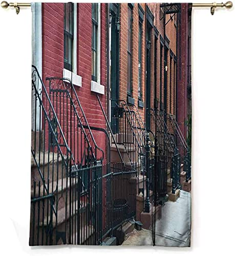 Kmydt Thermal Insulated Blackout Curtain, Urban, Fit Farmhouse Window – Stairways Leading to Doors of Row of Old Apartments Architectural New York City View – 48 x64 – Multicolor