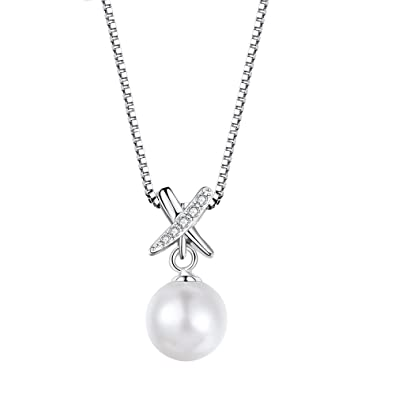 cbd51e44e J.RIKKI Women Necklace 925 Sterling Silver Pendant Pearl Necklaces  Freshwater Pearl Pendant Necklace Jewellery for Women/Wife/Girlfriend:  Amazon.co.uk: ...
