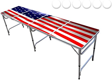 Callm 8 Foot Premium Outdoor Folding Table Adjustable Height Upgraded Beer Pong Set for Adults Table Beer Pong Table 8 Heavy Duty Foldable Party Pong Tables
