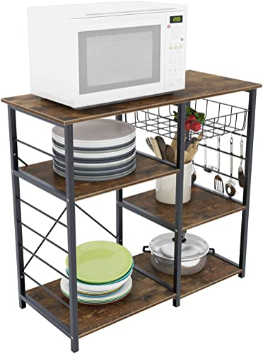 soges 3-Tier Kitchen Baker's Rack Utility Microwave Oven Stand Storage Cart Workstation Shelf Rustic Brown UT-014