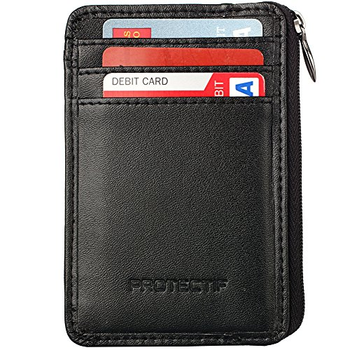 Rfid Blocking Sleeves Front Pocket Wallet for Men, Secure Sleeve Mini Card (Leather Id Wallet)