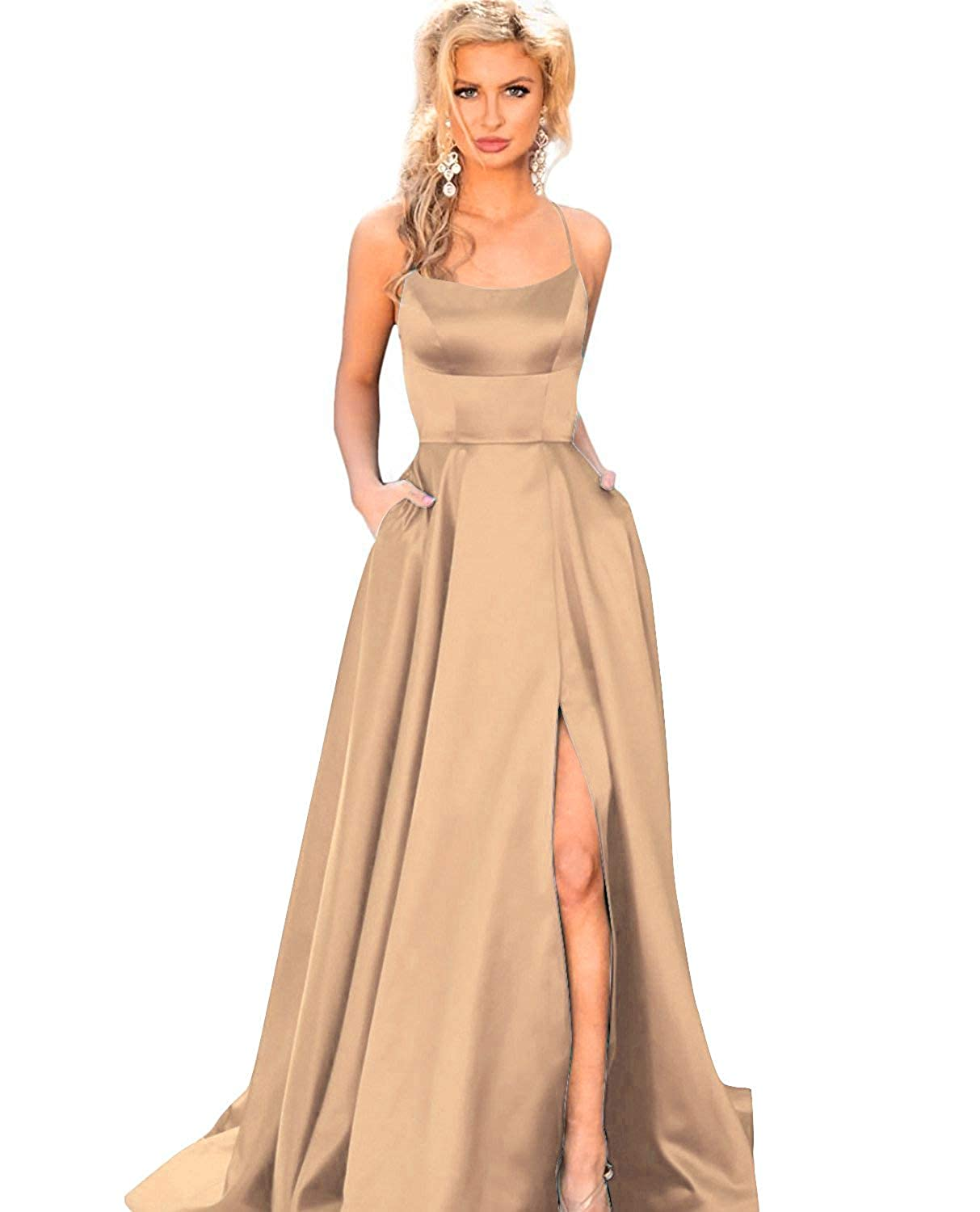Champagne YMSHA Womens Long Halter Split Prom Party Dresses with Pockets Spaghetti Straps Evening Formal Gown PM10
