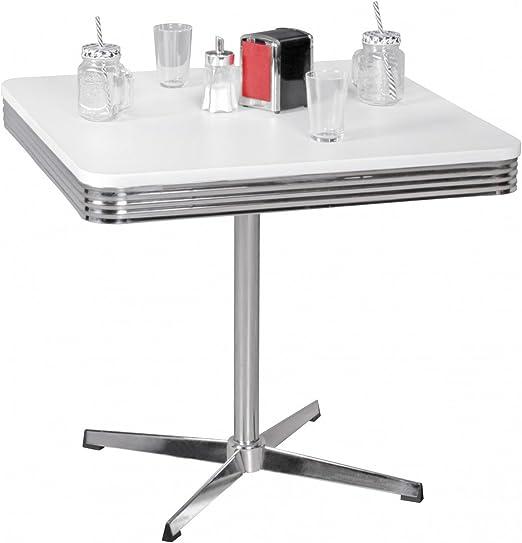 Mesa de Comedor Elvis American Diner 80cm Madera MDF y Aluminio ...