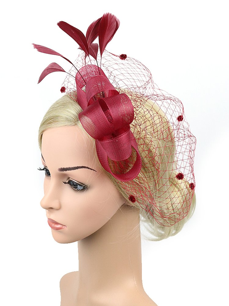 Urban CoCo Womens Bow Feather Net and Veil Fascinator Cocktail Party Hair Clip Hat Red