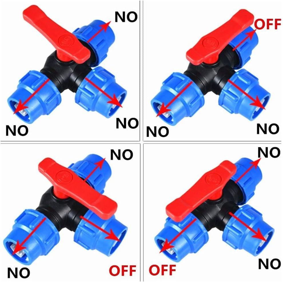 Di/ámetro De La V/álvula Interior 20//25//32//40//50 63mm ling De Tres V/ías De Conexi/ón R/ápida De Tuber/ías De Pl/ástico V/álvulas V/álvula T-Tipo Color : Blue, Size : 20mm