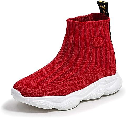 GXTING Zapatillas De Running para Niñas, Zapatillas De Deporte De Calcetines Zapatillas De Gimnasia De Punto Cómodo Zapatos De Zapatillas De Calcetín Zapatillas De Deporte Casuales para Niños,Rojo,36: Amazon.es: Hogar