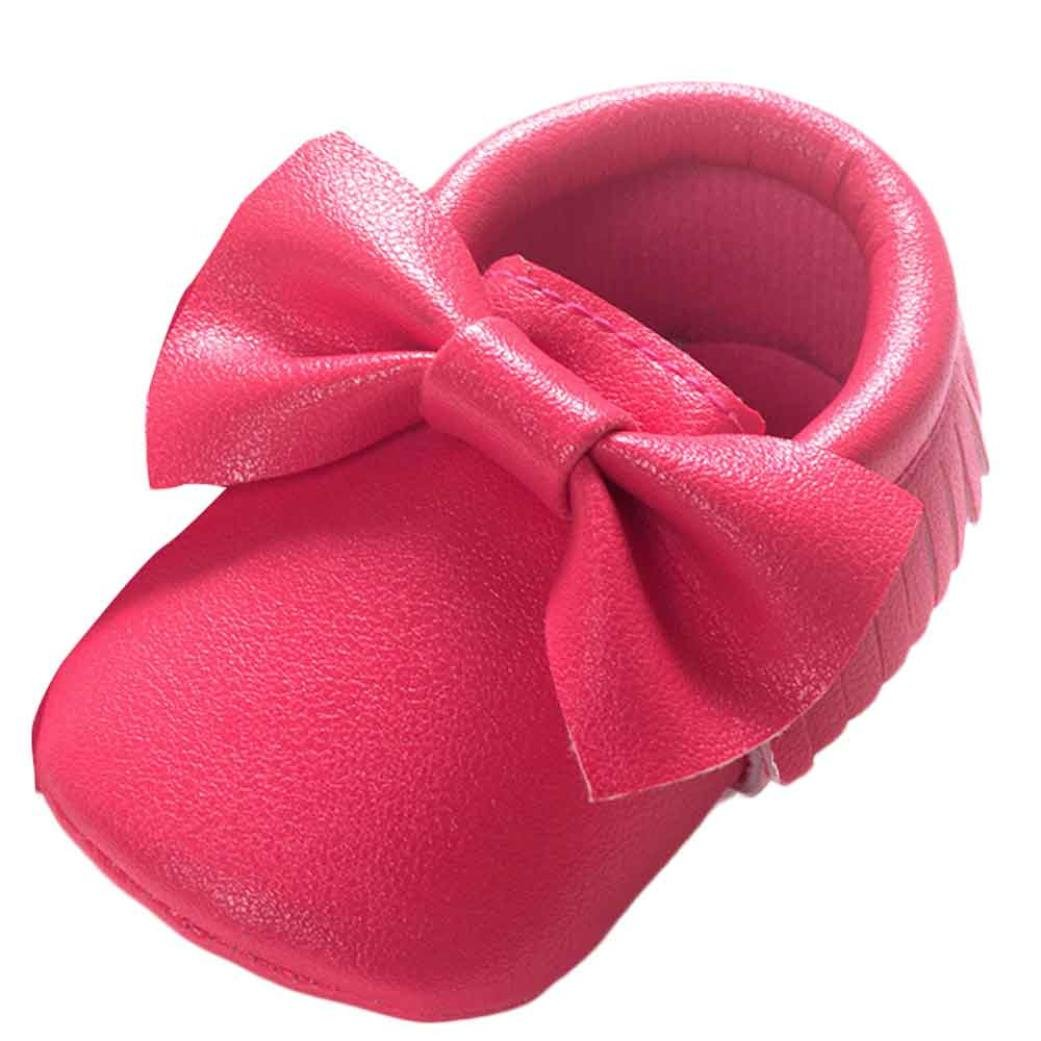 Voberry Baby Boys Girls Soft Soled Tassel Bowknots Crib Shoes PU Moccasins (0~6M, Hot Pink)