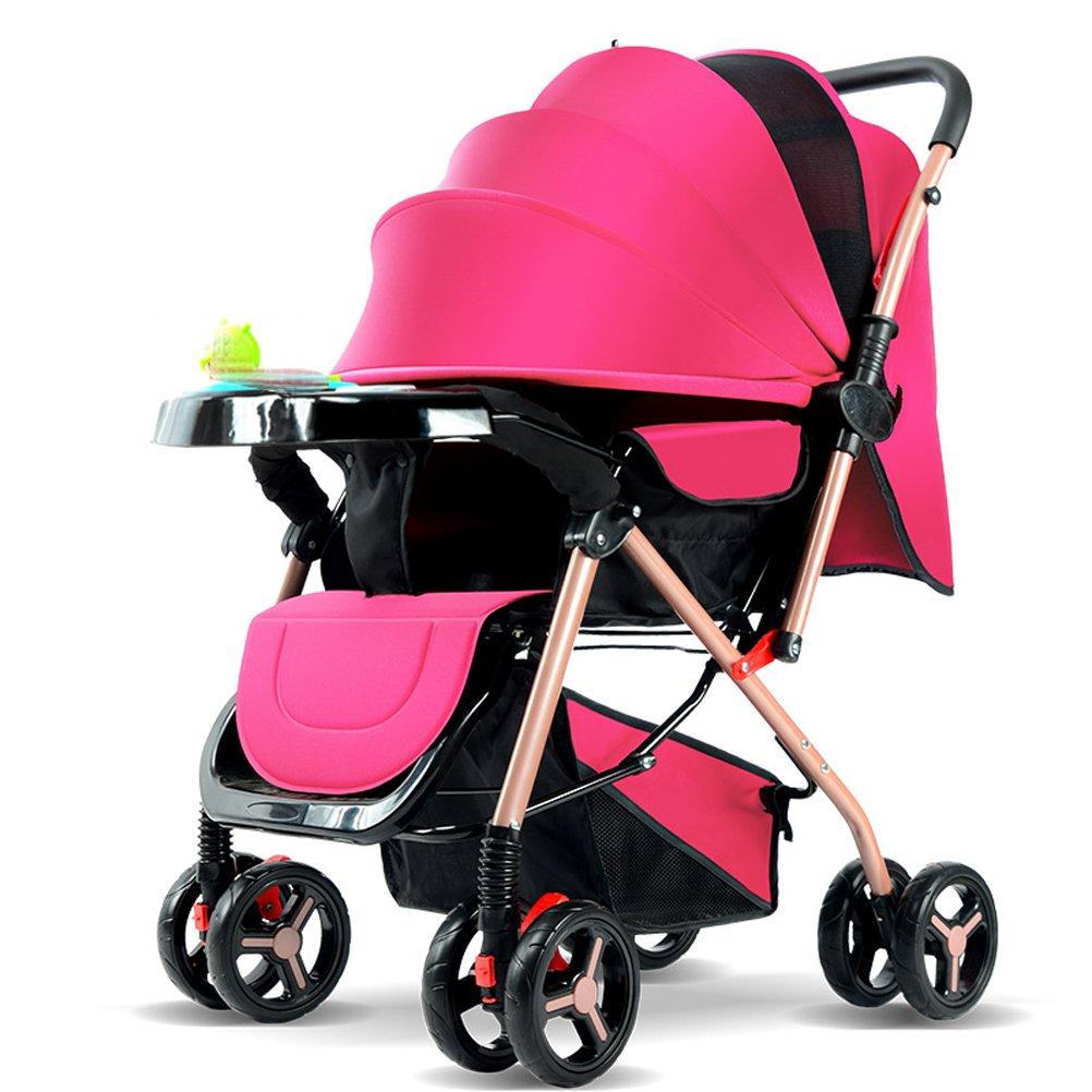 YEC Sillita de paseo de ocho ruedas para cochecitos de bebé Sillita de paseo plegable y de peso ligero con asiento absorbente y de descanso con caja de música (Color rosa)