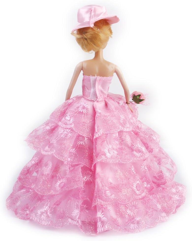 Amazon.es: 4-tier sin tirantes muñeca de princesa vestido de novia ...