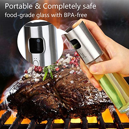 Oil Sprayer for Cooking Olive Oil Sprayer Glass Bottle Kitchen Oil/Vinegar Dispenser with Cleaning Brush for BBQ, Cooking, Grilling, Baking, Frying 100ML/3.4oz by B-hero (Image #1)
