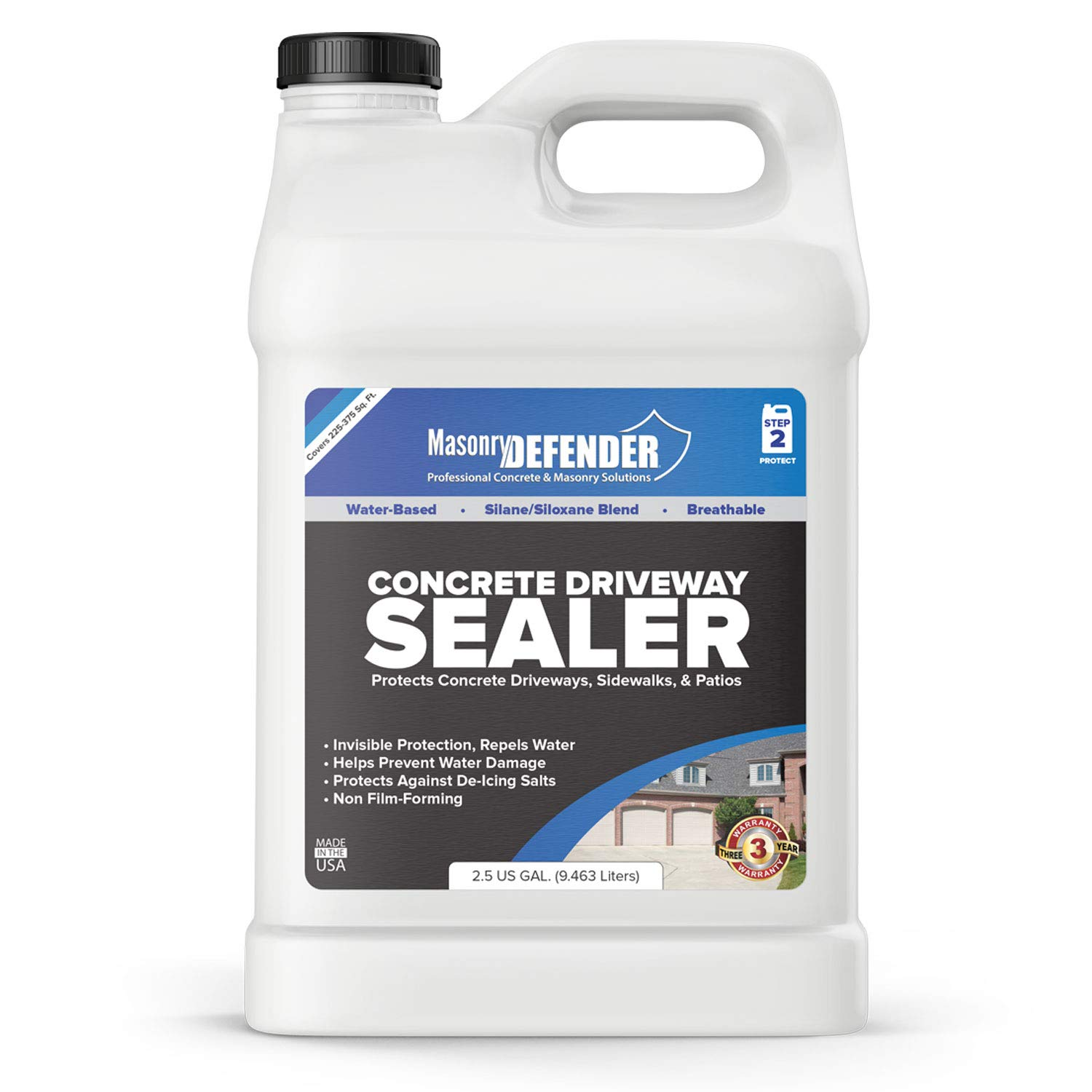 MasonryDefender 2.5 Gallon Penetrating Concrete Sealer for Driveways, Patios, Sidewalks - Clear Water-Based Silane Siloxane Sealer Water Repellent