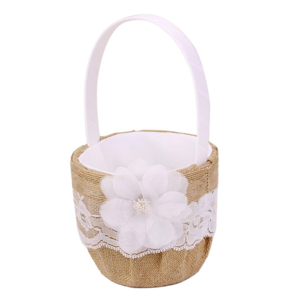 Hessian Burlap Wedding Flower Girl Basket Flower Lace Decorated Generic generico
