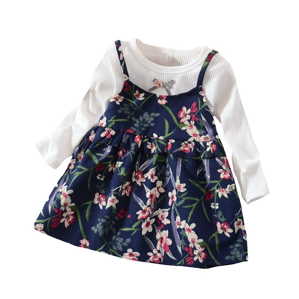 Toddler Girls Long Sleeve Floral Flower Print Princess Dress Outfits Clothes