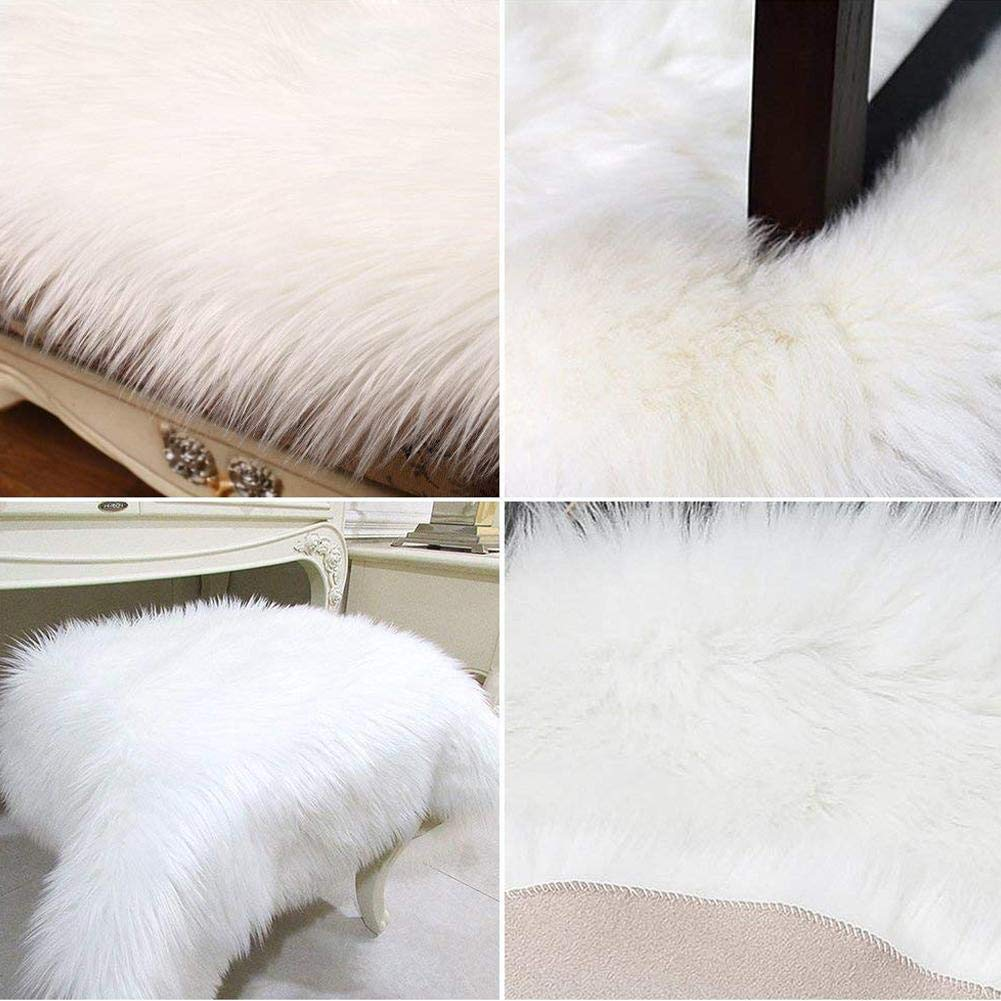iBaste/_S Fluffy Area Rugs Faux Fur Shaggy Rug Soft Contemporary Thick Indoor Carpet Nursery Rug Oval Floor Mat Bedrooms Living Room Kids Rooms Window Decor Grey