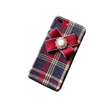 6722c922ac Amazon | Spinas(スピナス) 大人可愛い タータンチェック柄 モチーフリボン スマホケース ケースカバー iPhone6/6s  6/6sPlus iPhone7/8 7/8Plus iphoneX全3色 ...