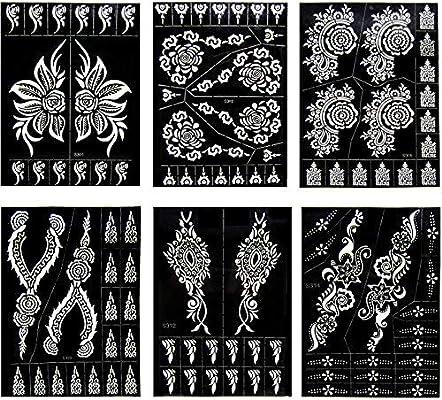 Xmasir Indian Design 6 Plantillas de tatuaje de henna con ...
