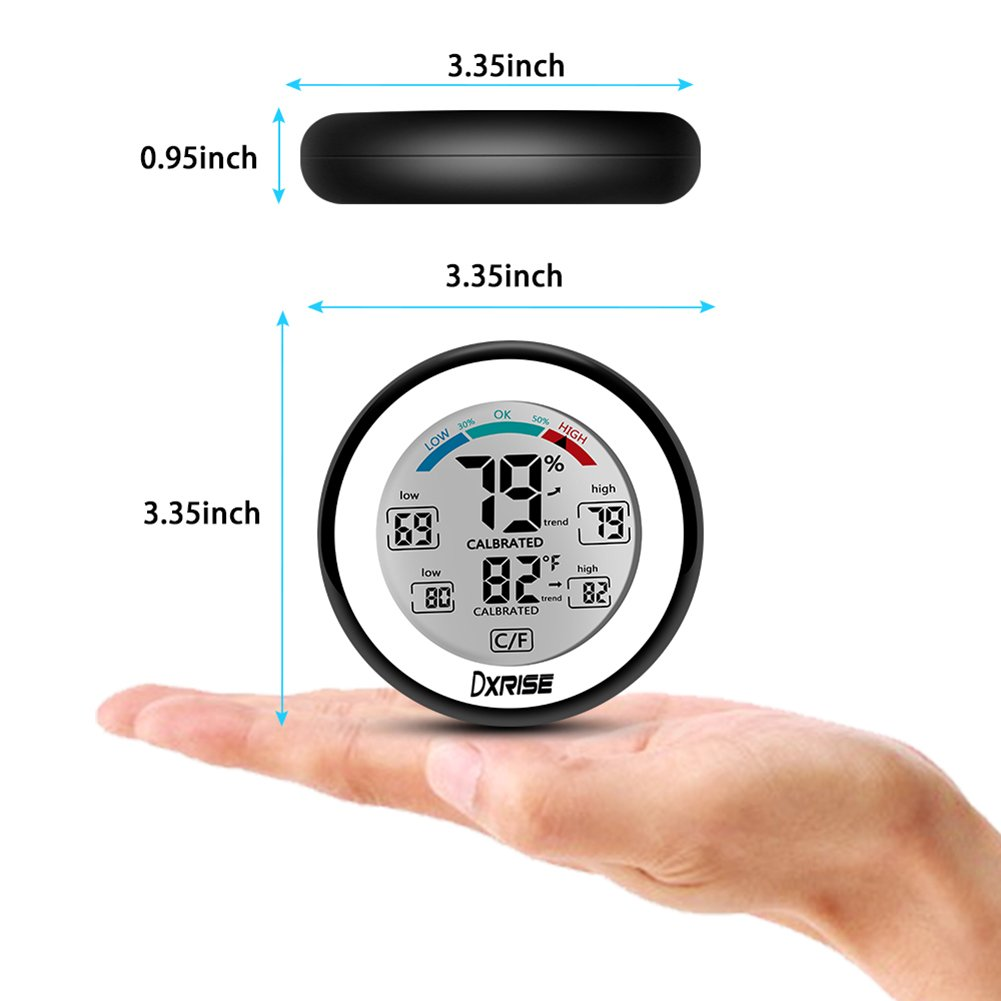 Wireless Humidity Gauge Digital Hygrometer Indoor Temperature and Humidity Monitor meter with Accurate Monitor Clear Reading, Min/Max Records, C/F switch by dxrise (Image #3)