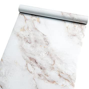 Marble Self Adhesive Paper Granite 354x787 White Roll Peel And Stick Wallpaper Vinyl Film For Furniture Decorate Matte Waterproof Removable