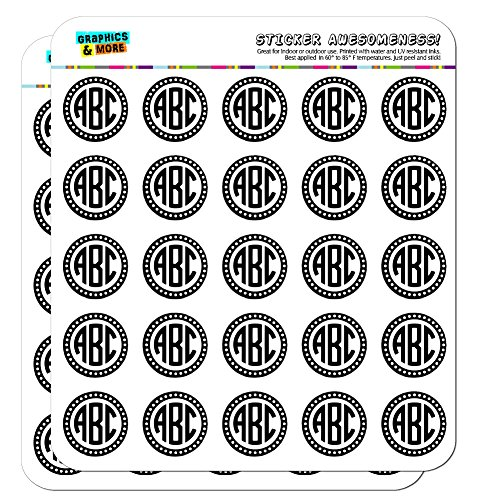"Graphics and More Personalized Custom Monogram Circle font Scalloped Outline Planner Calendar Scrapbooking Crafting Stickers - 50 1"" Clear Stickers"