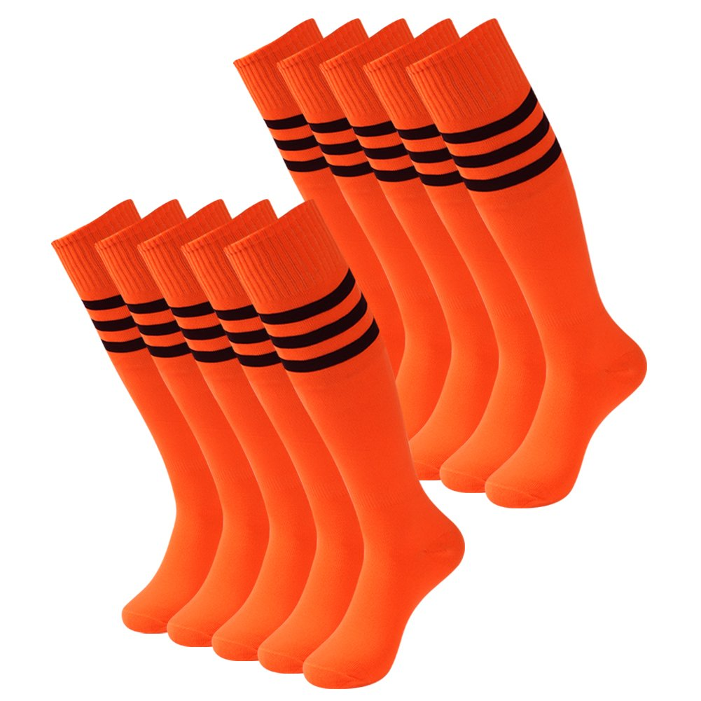 3street ユニセックス ニーハイ トリプルストライプ アスレチック サッカー チューブ ソックス 2 / 6 / 10組 B078BMDDJB 10 Pairs Orange 10 Pairs Orange