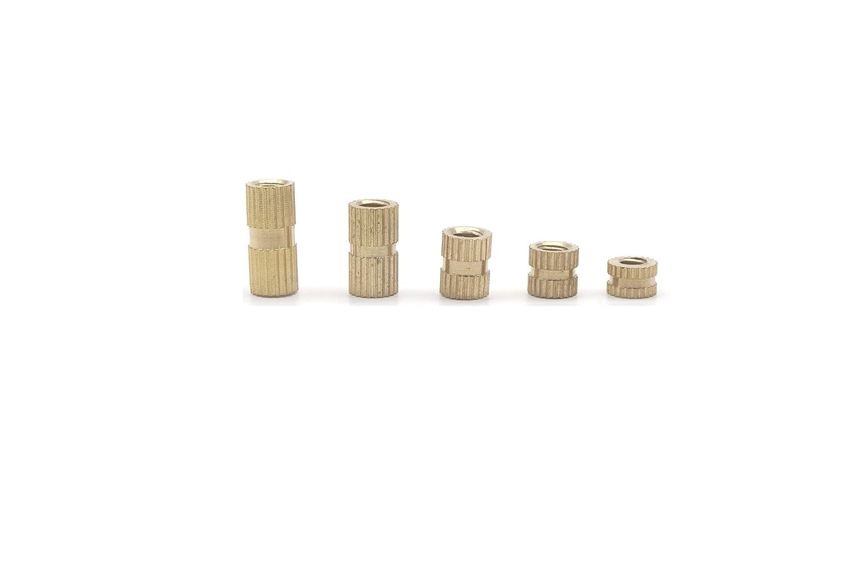 binifiMux 100pcs M4 Female Brass Thread Insertd Knurled Nuts Assortment Kit Embedment Nuts m4