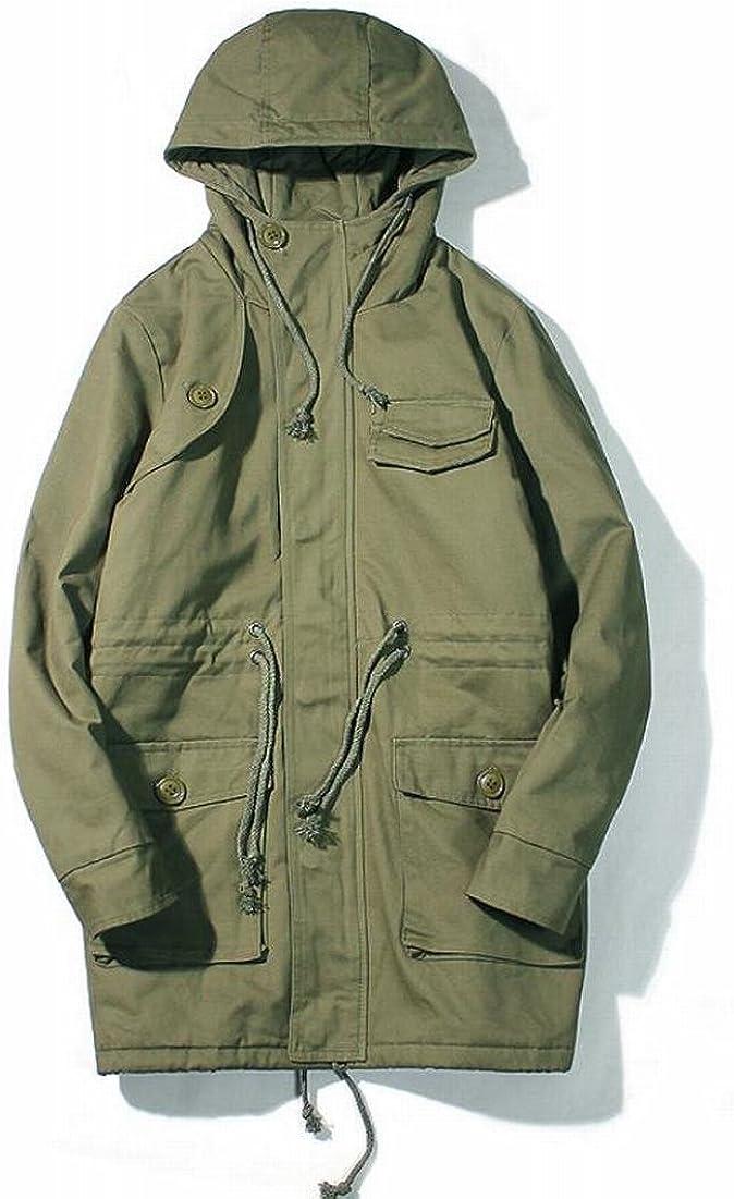 Fllay Mens Trech Coat Outwear Mid Long Length Front-Zip Hoodies Drawstring Jackets