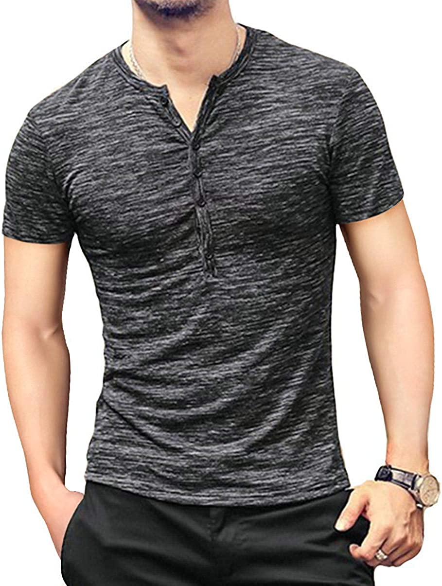 Oritina Mens Henley Shirts Short Sleeve Slim Fit Summer Shirts