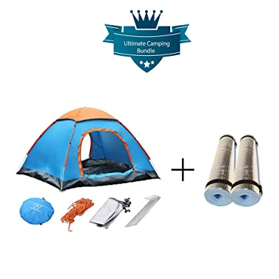 2 Man Pop Up Tente avec 2 Rouleau de film mat pour couchage – Camping de plein air Bundle