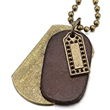 Punk Rock Metal and Brown Leather Dog Tag Pendant Necklace for Men Women with 28 Inches Ball Chain