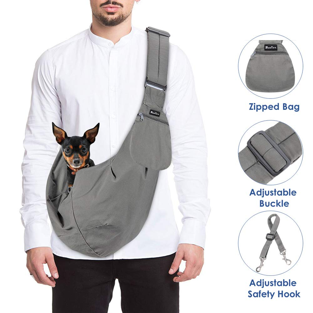 97479e789c SlowTon Pet Carrier, Doggie Cat Hand Free Sling Carry Dog Papoose Carrie  Adjustable Padded Shoulder Strap Tote Bag with Front Pocket Safety Belt  Outdoor ...