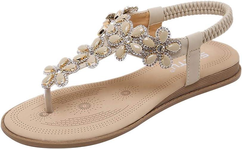 Sandalias de Vestir Mujer,LANSKIRT Zapatos Mujeres Verano 2019 Chanclas Bohemias Sandalias Romanas Planas y Confortables Zapatillas casa Pantuflas