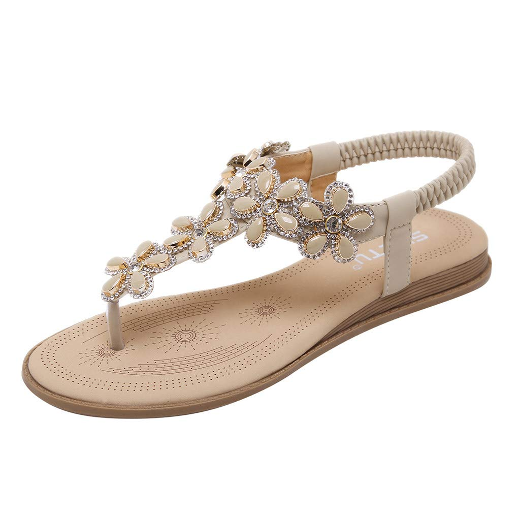 Women's Flip Flops Flat Sandals Summer T-Strap Crystal Elastic Strap Bohemian Dress Shoes (Beige, US:6.5)