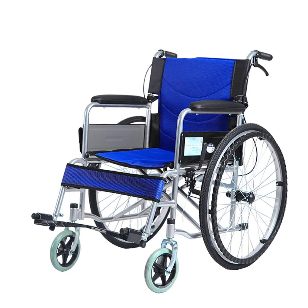 XXHDEE Wheelchair Light Transport Folding Self-propelled Wheelchair Aluminum Alloy Puncture Collision Carrying Wheelchair Portable Travel Chair Walking aids by XXHDEE