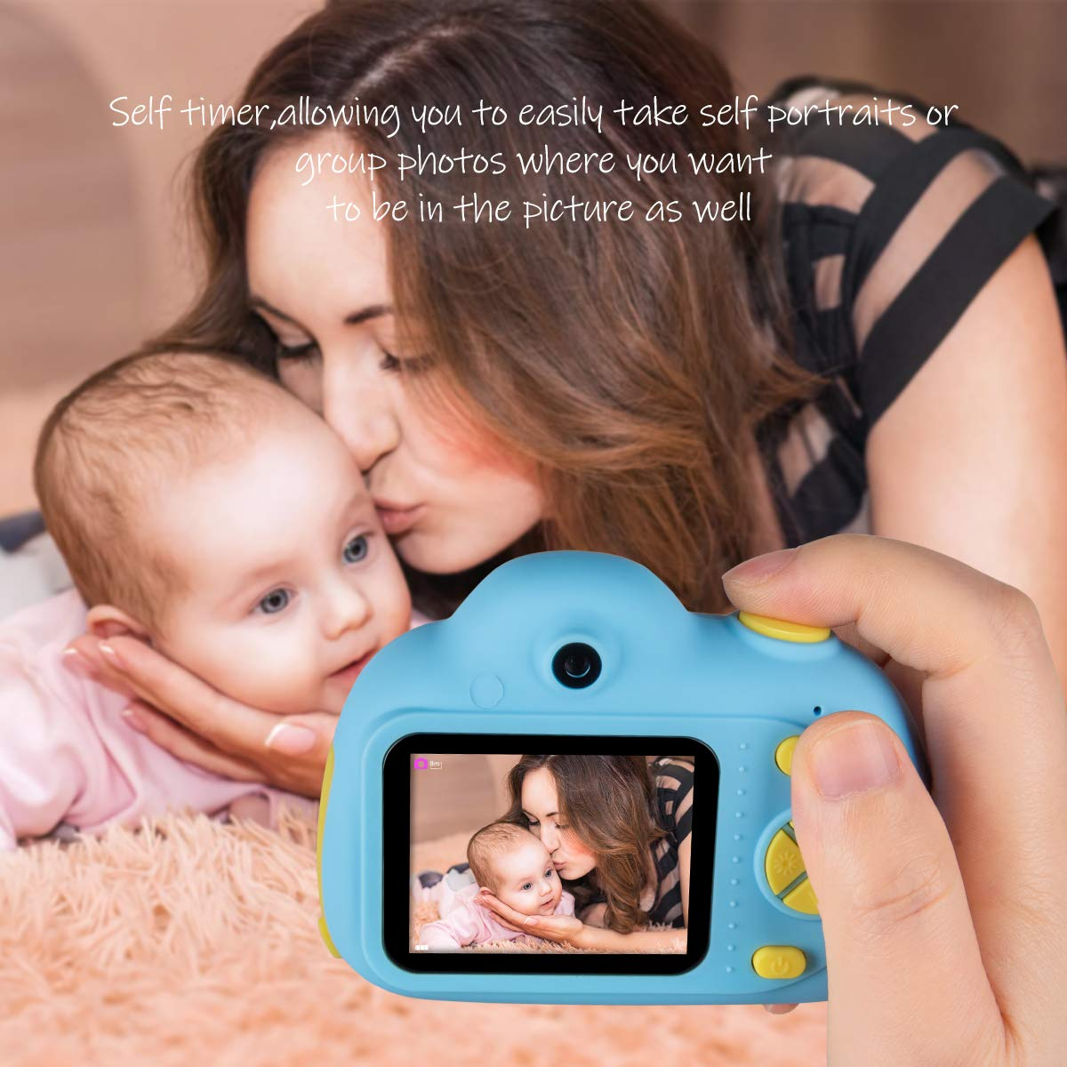 Kids Cameras Dual Selfie Digital Camera HD Video Recorder Action Camera Camcorder for 4-9 Year Old Kids Birthday Festival Gifts Toys for Children Boys Girls 2.0'' LCD Screen 4X Digital Zoom (Blue) by Tyhbelle (Image #4)