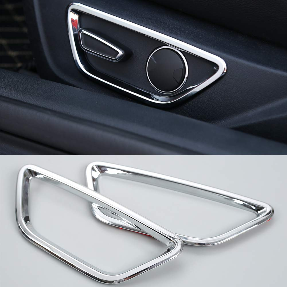 Nkcar Chrome ABS Seat Adjust Button Decoration Cover Trim for Ford Mustang 2015-2016 2PCS