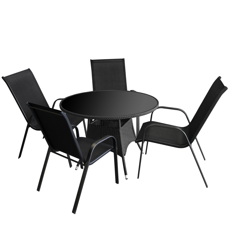 5tlg Gartenmöbel Set Gartentisch Glasplatte Schwarz