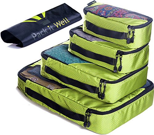 ✅ Packing Cubes Set - 4 Travel Luggage Organizer with 1 Laundry Bag, Black (Olive Green) by Pack it Well