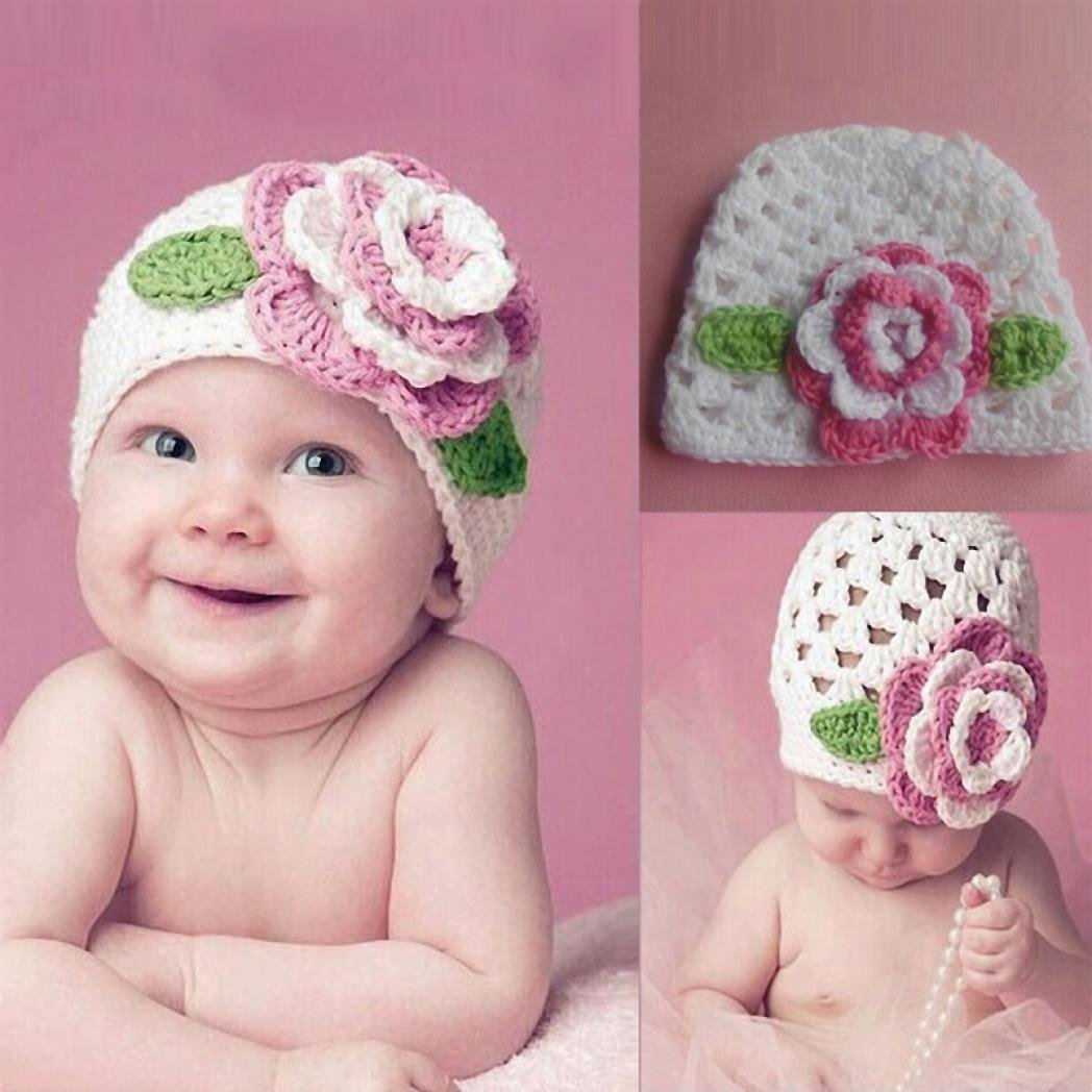 Weiyun Brand New Cute Winter Kids Baby Hats Knitted Wool Fower Hat For 3~12M