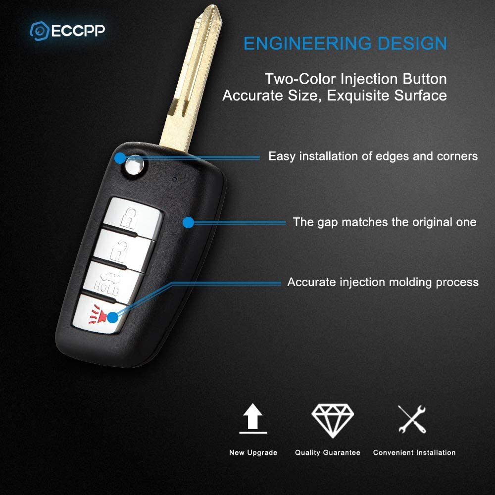ECCPP 2X Replacement fit for Uncut Ignition Key Fob Nissan Armada Murano Infiniti EX35 FX35 Series CWTWBU618 CWTWBU619 CWTWBU624 CWTWBU735
