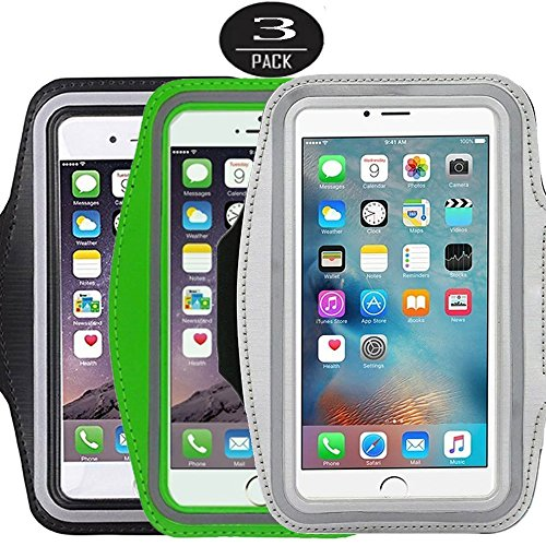 [3 Pack]Running Armband,CaseHQ Sports Water Resistant with Key Holder Pouch Fit iPhone 7 6 6s Plus(5.5-Inch) Samsung Galaxy S7 S6/S5, Note 4/3 ,Bundle with Screen - Sunglasses Ie Review