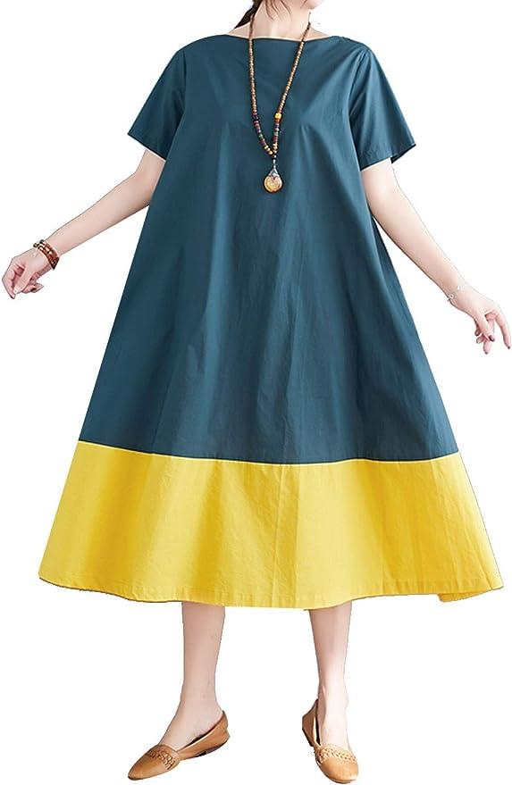 P Ammy Fashion Womens Oversized Cotton /& Linen Stripes Short Sleeve Midi Dress