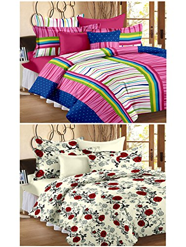 Story@Home 120 TC 100% Cotton Set Of 2 Double Bedsheet With 4 Pillow Cover Navy Blue & Peach