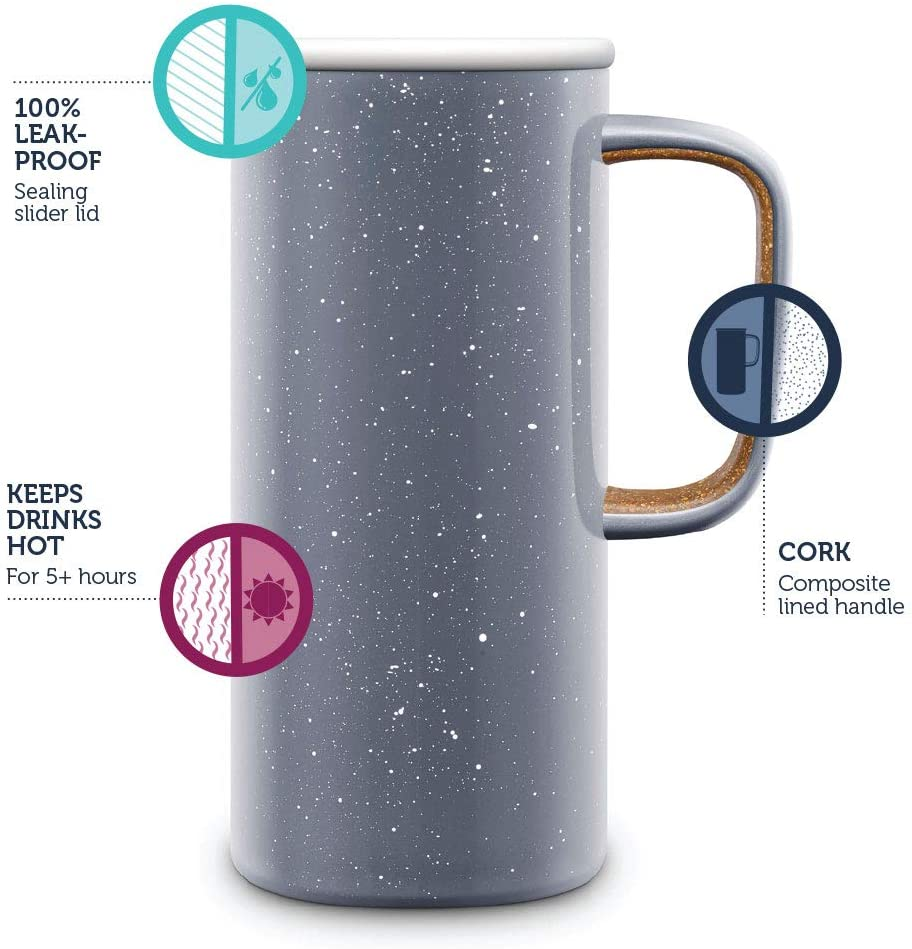 Ello Campy Vacuum Insulated Stainless Steel Water Bottle with Slider Lid, 16 Ounce