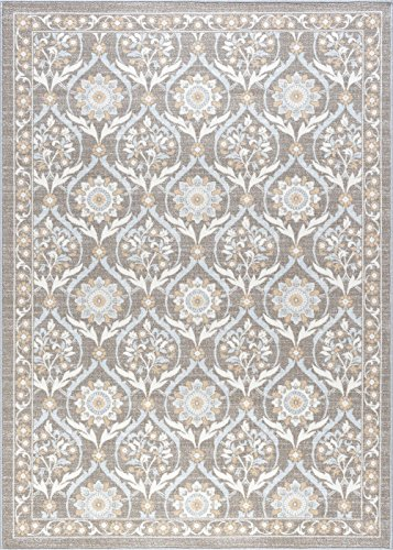 Robina Transitional Floral Taupe Non-Skid Rectangle Area Rug, 4' x - Taupe Rug Rectangle