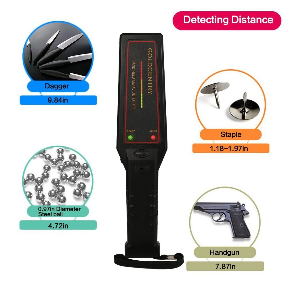 VFclar Security Metal Detector, Adjustable Hand-Held Sensitivity Super Wand Scanner with 16 LED Lights for Airport, Open Port, Frontier, Company Entrance ...
